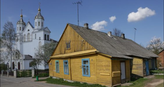 (Навагрудак, Новогрудок) Nowogródek, rynek, kościół i klasztor dominikanów.