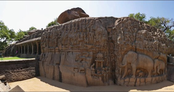 Indie, India, Tamil Nadu, Mahabalipuram, Arjuna's Penance, Descent of the Ganges