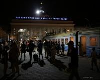 Odessa, dworzec kolejowy nocą